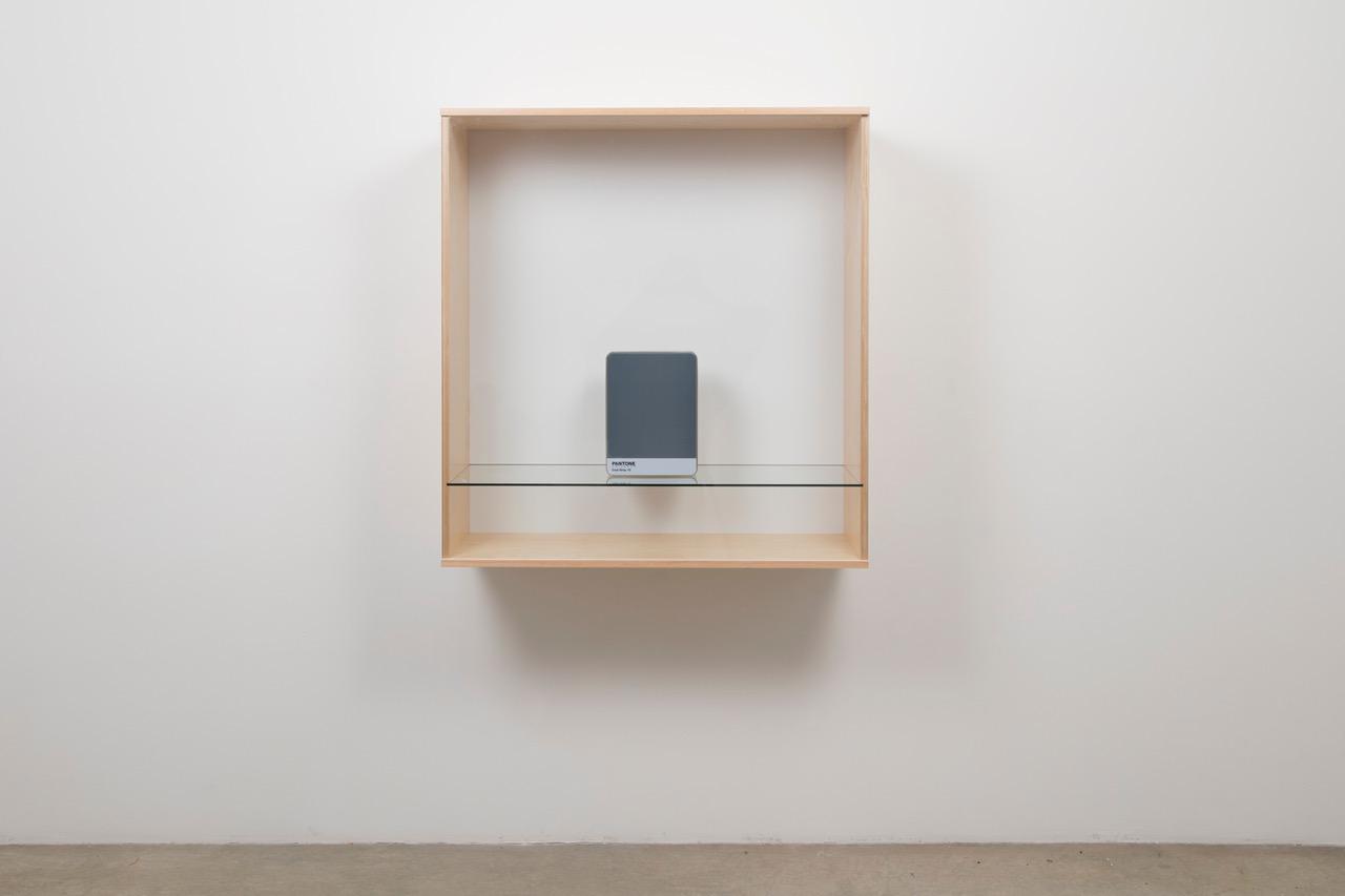 Haim Steinbach Untitled Pantone Cool Gray 10 2016 Baltic Birch Plywood Plastic Laminate And Glass Box With Metal Storage 413 8 X 393