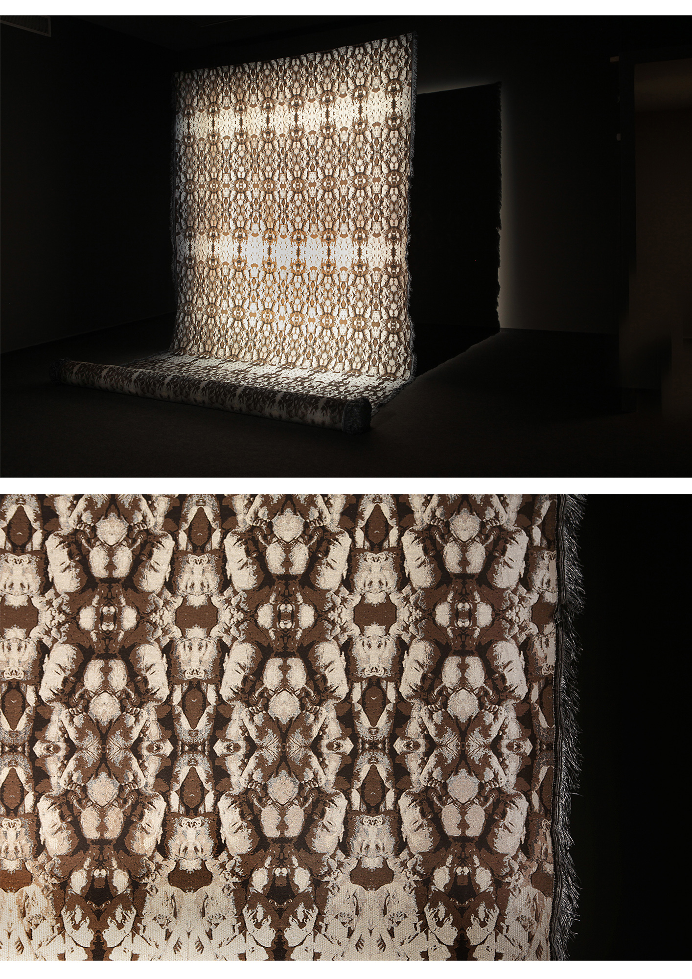 This Tactile Jacquard fabric incorporates images of a duplicated mass grave and entangles the tension between ethics and aesthetics.
