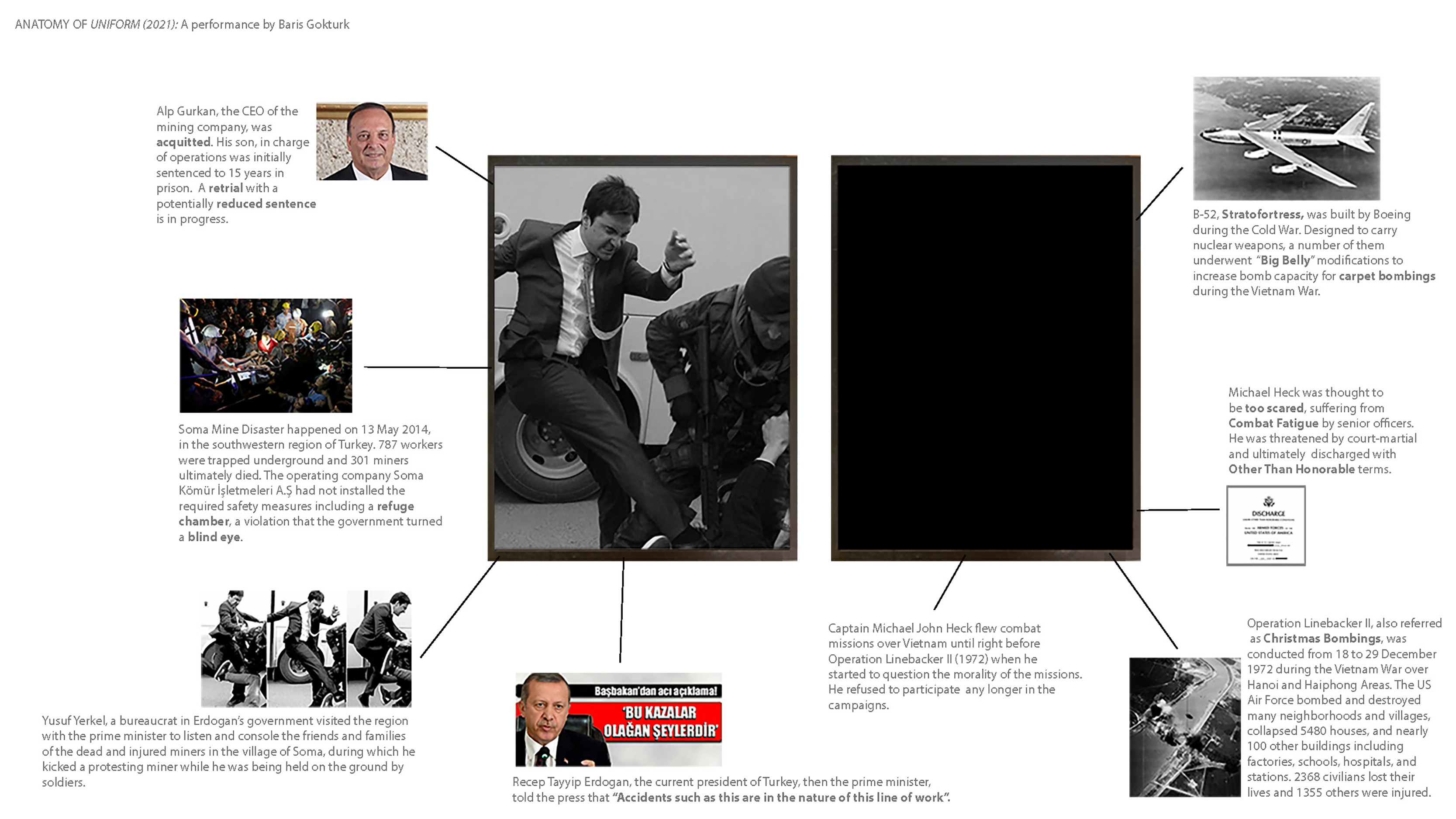 Uniform is a live performance with supplemental website content (pictured in the slide) . Commissioned by Jewish Museum in New York, the performance is a mediation on two photographs, one in the picture frame, the other absent, about two events and two individuals who made different choices under parallel circumstances.