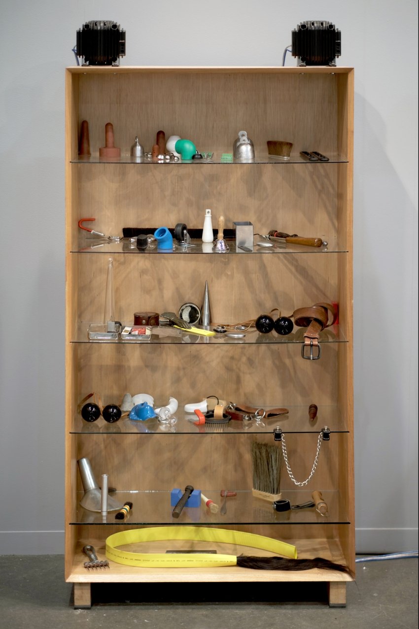 CABINET, a take on the 19th century cabinet of curiosities, is filled with found objects. Two transducers on top of the cabinet emanate sine waves in harmonic relationship with SUSPENDED PLATE, causing the objects on the shelves to rattle, move around, and potentially fall.